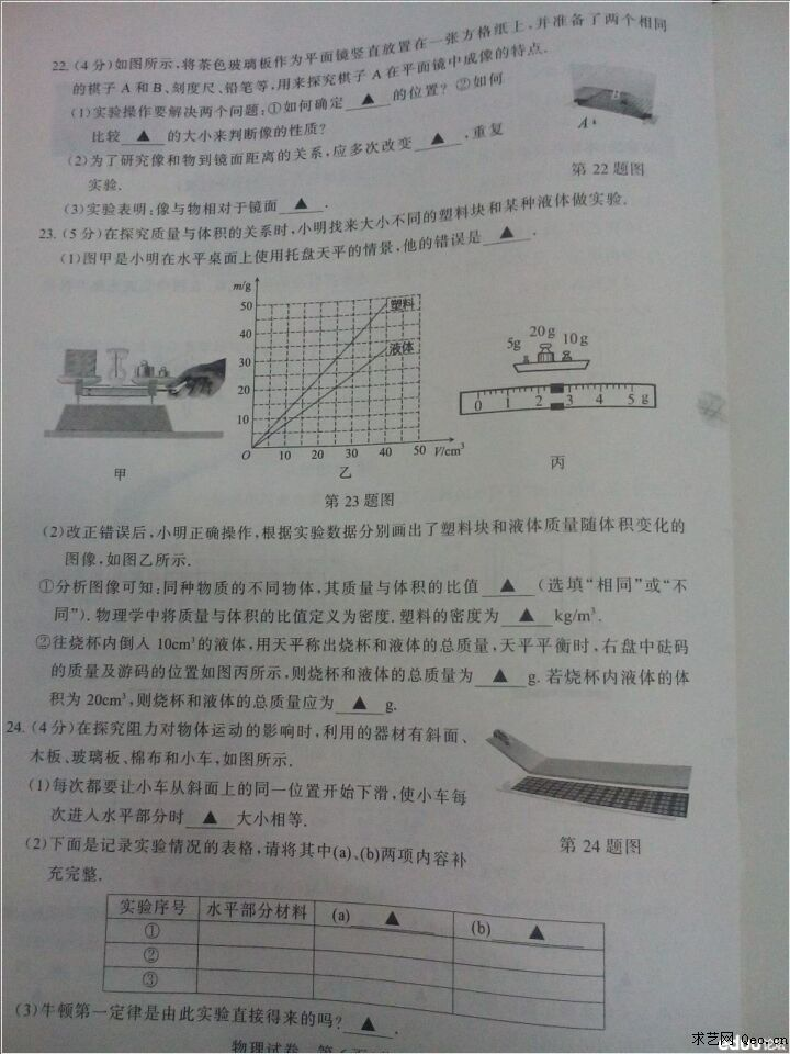 谁有过去几年的物理中考题,经典一点的!( 二、填空题(每小题7分,共84 8. 一个多边形的对角线的条数等于边数的5倍,则这个多边形是____...) 初中物理中考题经典( 解:(1)该砖块的总体积V=20cm15cm10cm=310-3m3, 材料的密度=m1 /...) 一道物理中考题,求解析和步骤.( 水桶没露出水面之前,桶中水的重力恰好等于水所受的浮力。 (这是因为,桶内外水的密度相同。所以,桶中水.