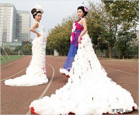 用废报纸做婚纱步骤图片